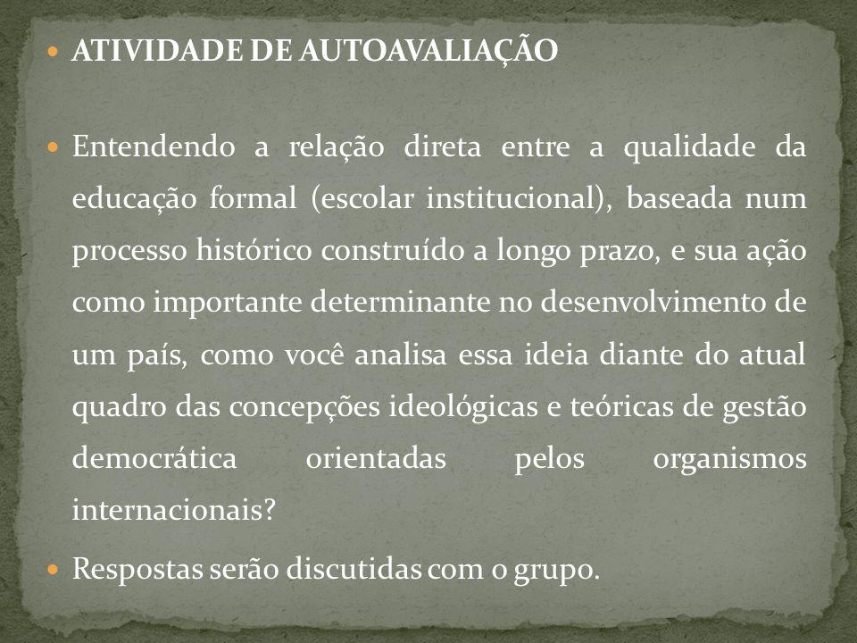 ATIVIDADE DE AUTOAVALIAÇÃO
