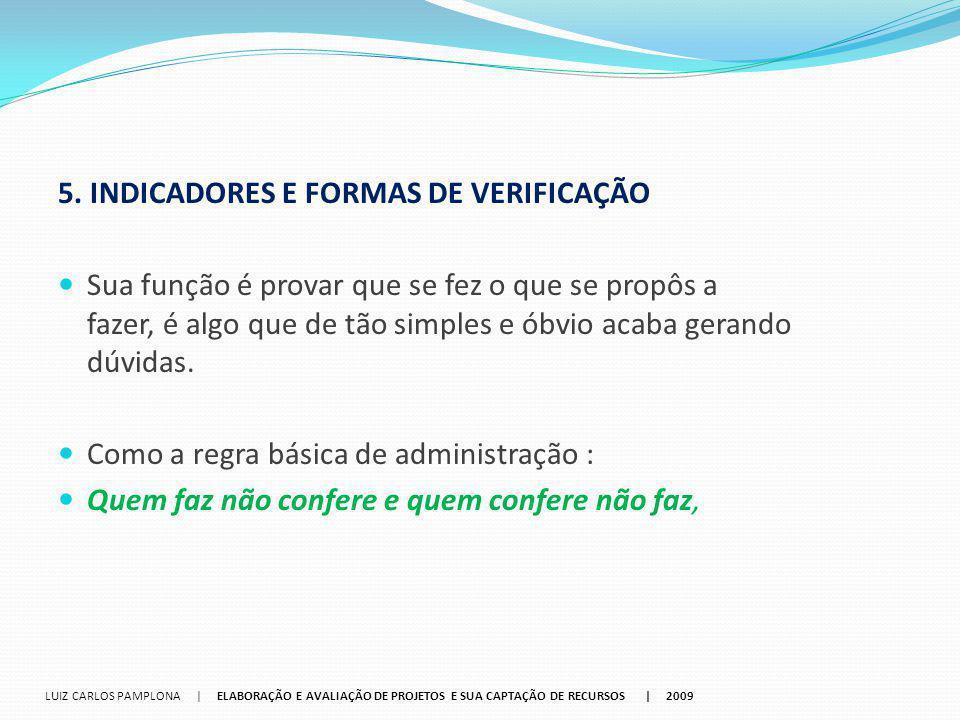5. INDICADORES E FORMAS DE VERIFICAÇÃO
