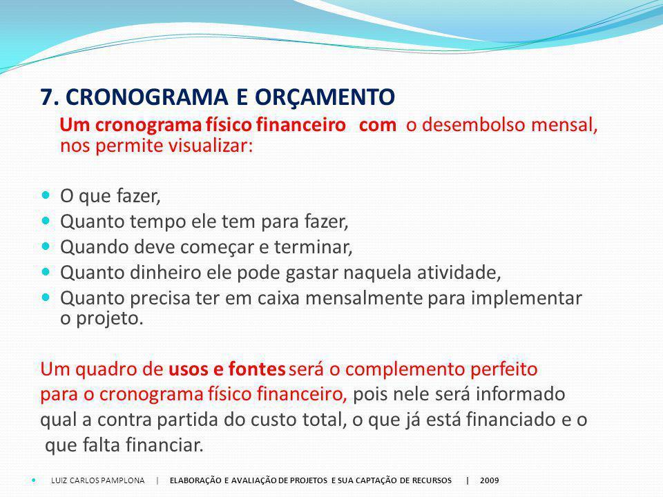 7. CRONOGRAMA E ORÇAMENTO