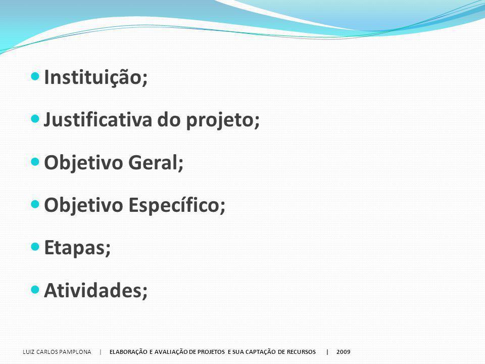 Justificativa do projeto; Objetivo Geral; Objetivo Específico; Etapas;