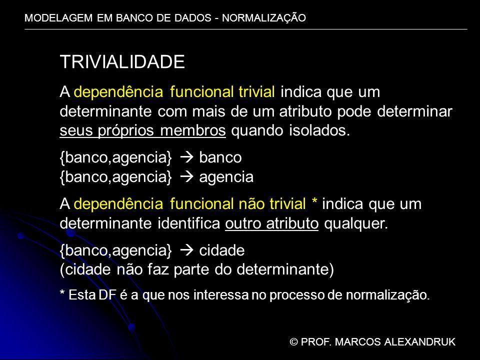 TRIVIALIDADE A dependência funcional trivial indica que um