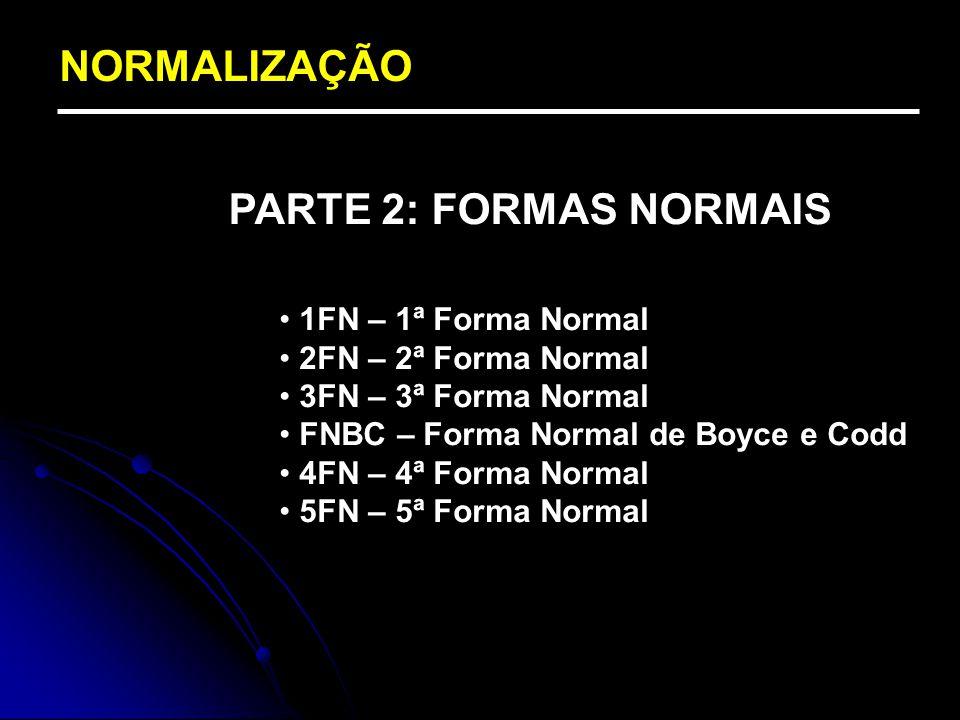 NORMALIZAÇÃO PARTE 2: FORMAS NORMAIS 1FN – 1ª Forma Normal