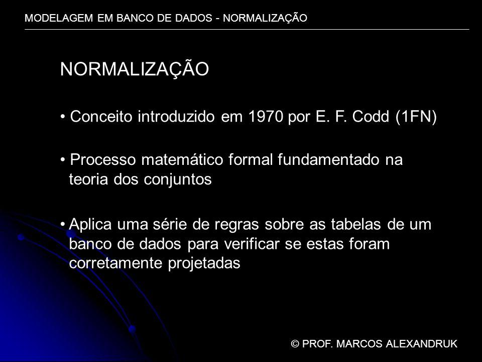 NORMALIZAÇÃO Conceito introduzido em 1970 por E. F. Codd (1FN)