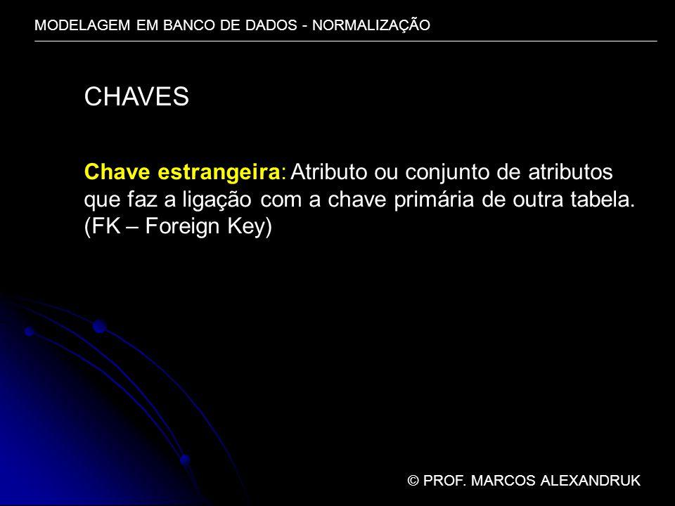 CHAVES Chave estrangeira: Atributo ou conjunto de atributos