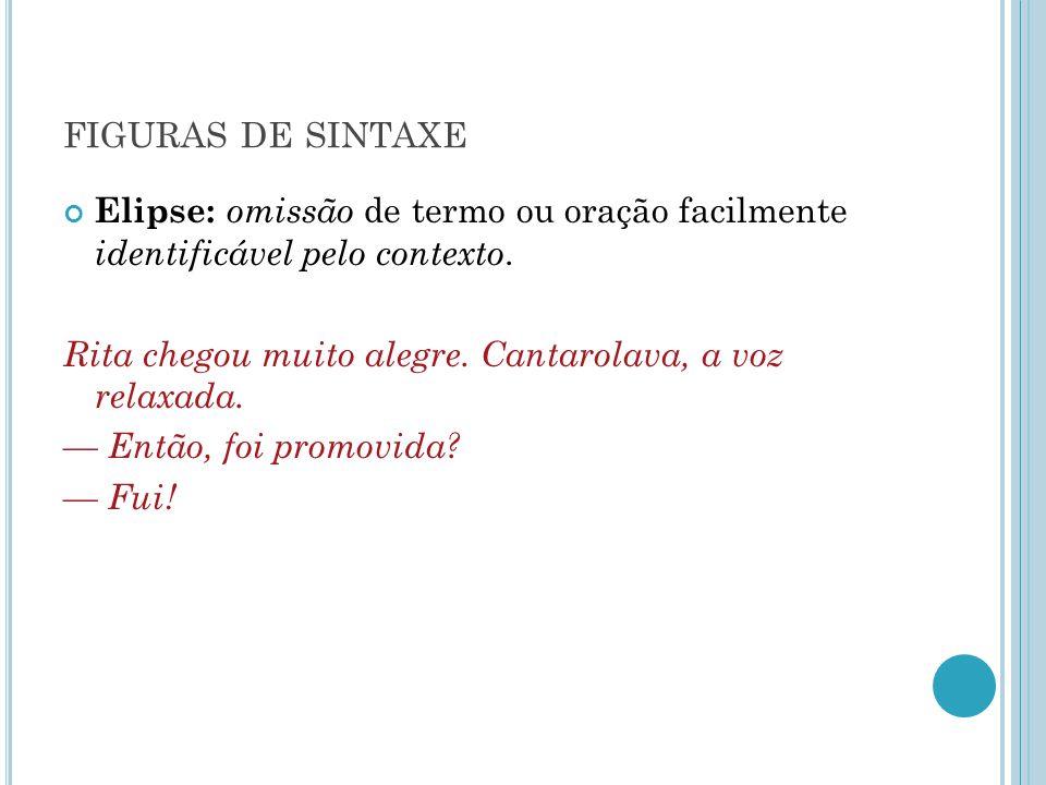 figuras de sintaxe Elipse: omissão de termo ou oração facilmente identificável pelo contexto.
