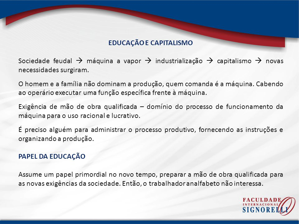 EDUCAÇÃO E CAPITALISMO