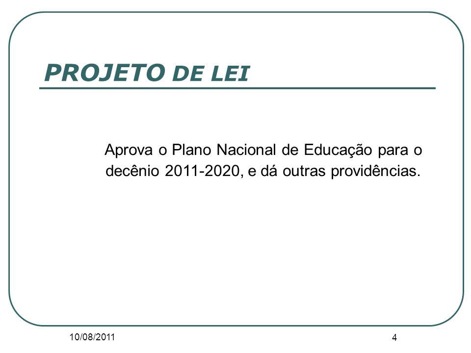 PROJETO DE LEI Aprova o Plano Nacional de Educação para o