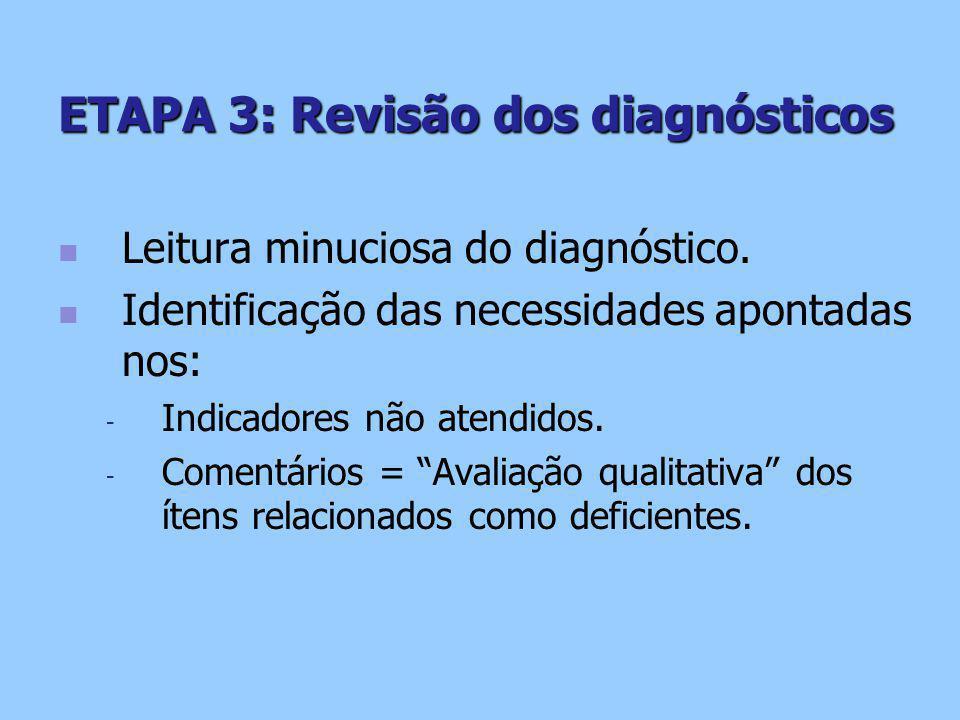 ETAPA 3: Revisão dos diagnósticos