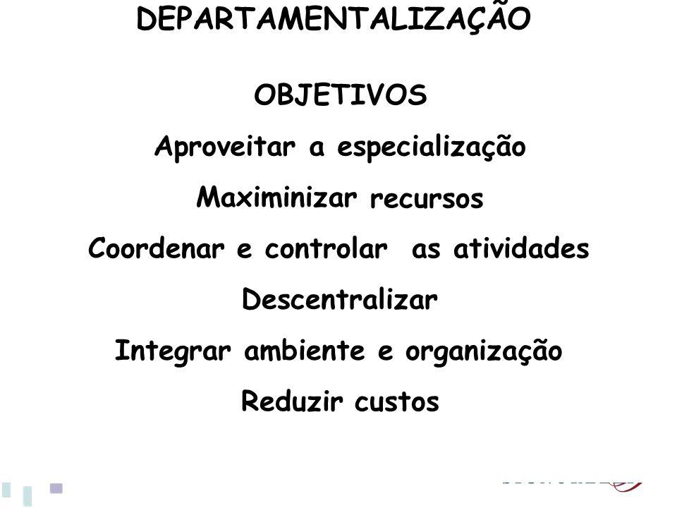 DEPARTAMENTALIZAÇÃO OBJETIVOS Aproveitar a especialização Maximinizar