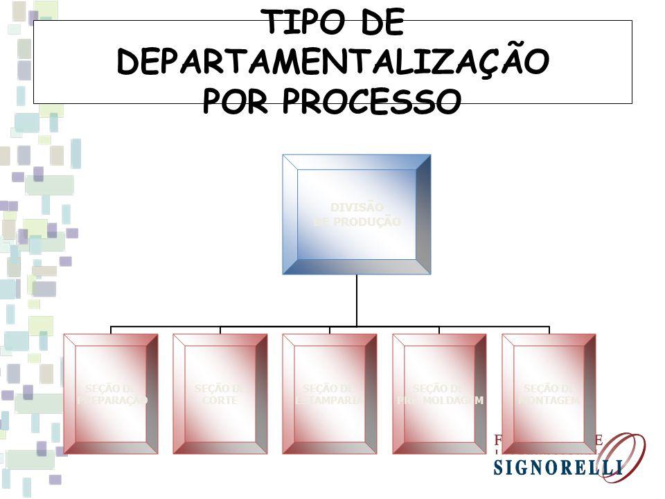 TIPO DE DEPARTAMENTALIZAÇÃO POR PROCESSO