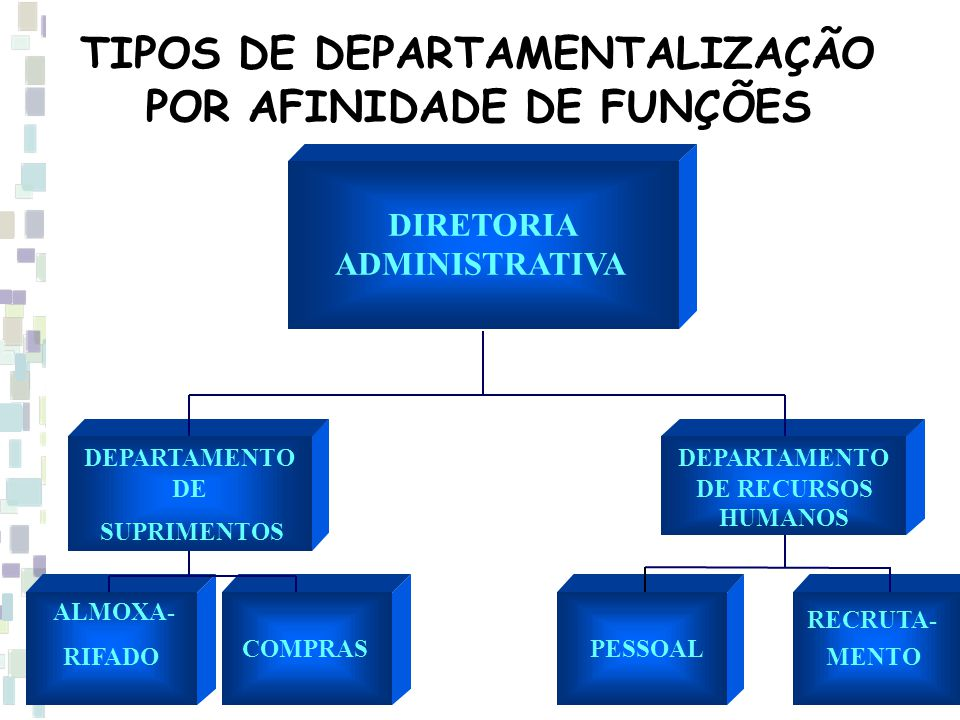 TIPOS DE DEPARTAMENTALIZAÇÃO POR AFINIDADE DE FUNÇÕES