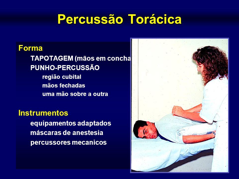 Percussão Torácica Forma Instrumentos TAPOTAGEM (mãos em concha)