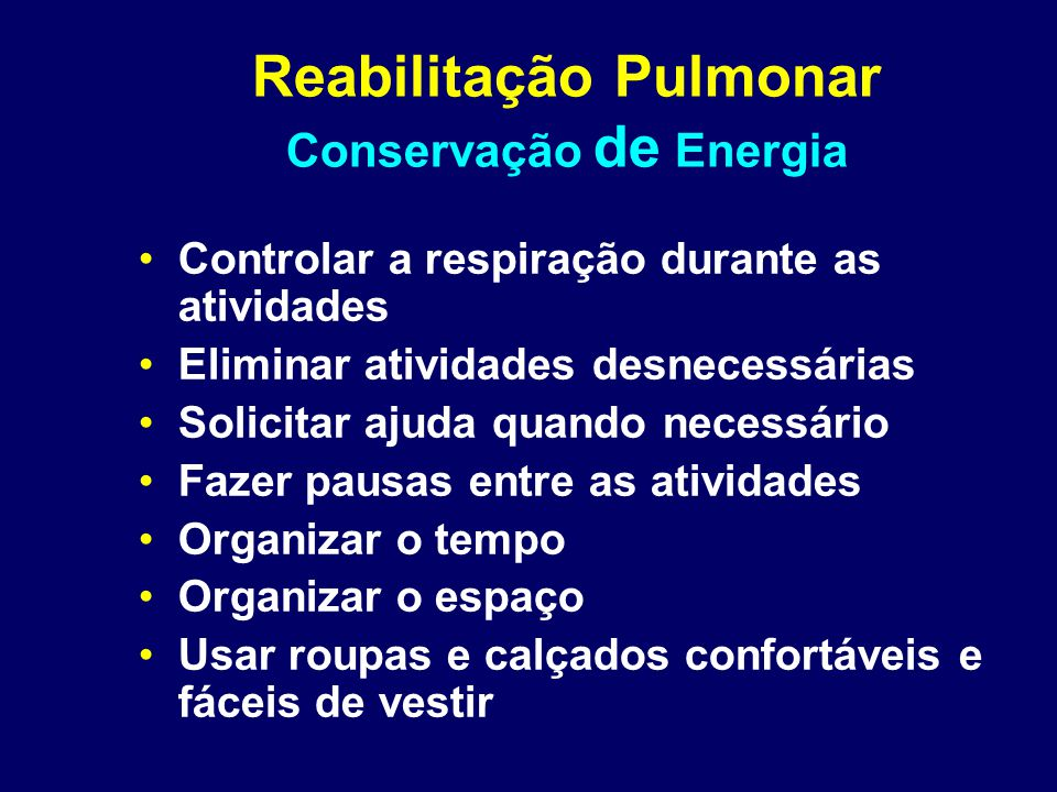 Reabilitação Pulmonar Conservação de Energia