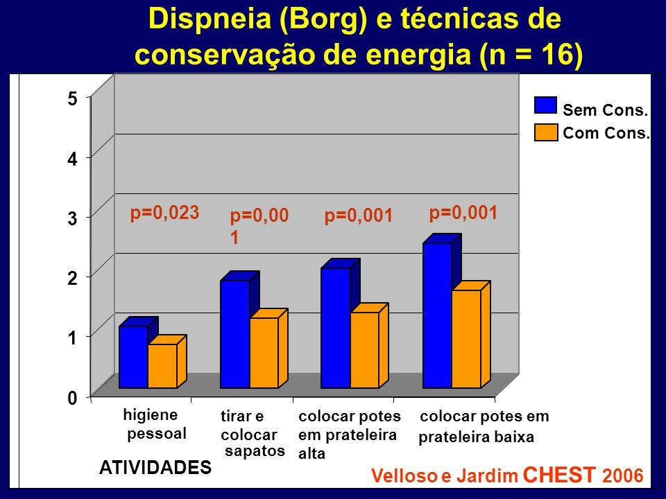 Dispneia (Borg) e técnicas de conservação de energia (n = 16)