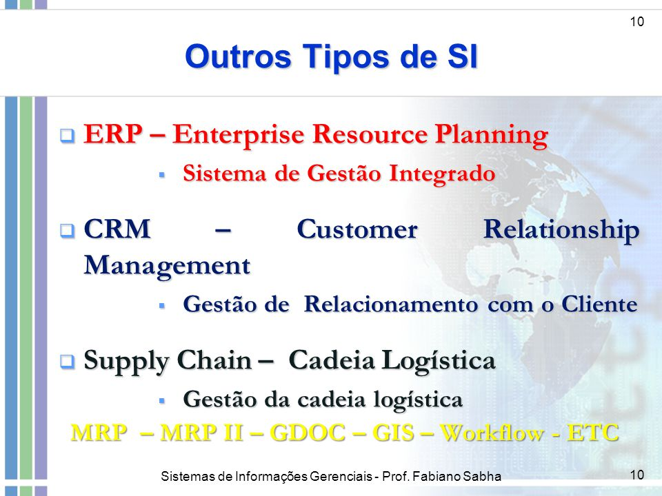 Outros Tipos de SI ERP – Enterprise Resource Planning