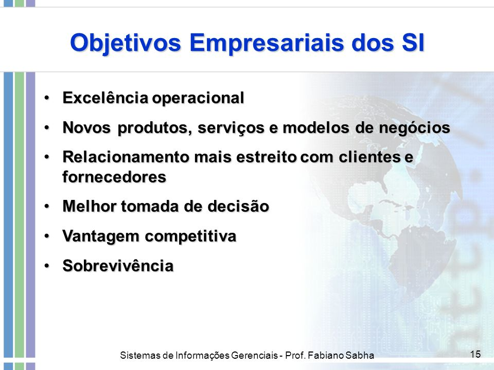 Objetivos Empresariais dos SI
