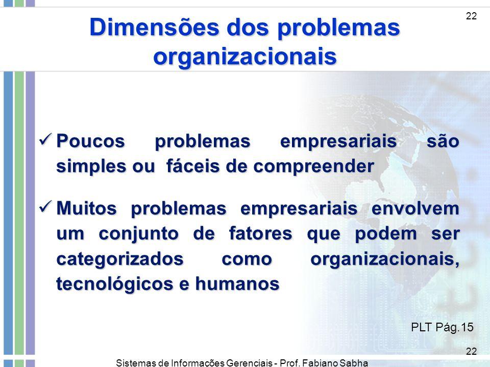 Dimensões dos problemas organizacionais