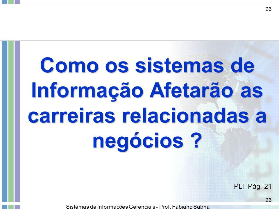 26 Como os sistemas de Informação Afetarão as carreiras relacionadas a negócios PLT Pág. 21.