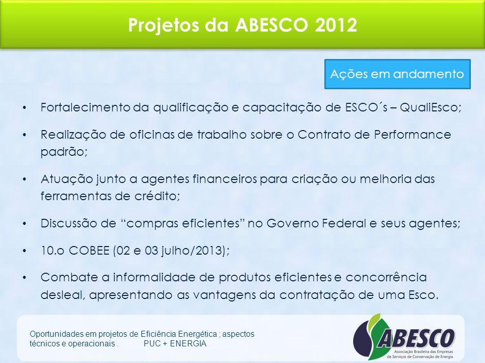 Projetos da ABESCO 2012 Ações em andamento