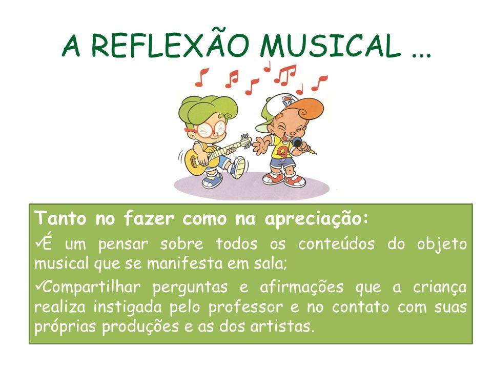 A REFLEXÃO MUSICAL ... Tanto no fazer como na apreciação:
