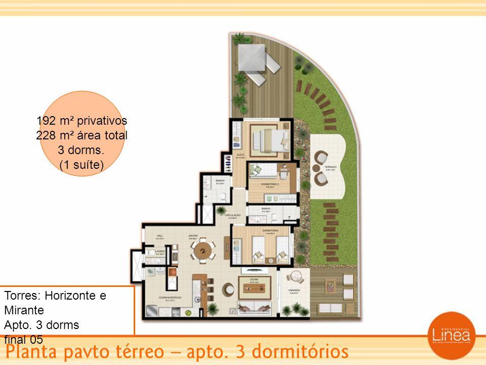 Planta pavto térreo – apto. 3 dormitórios