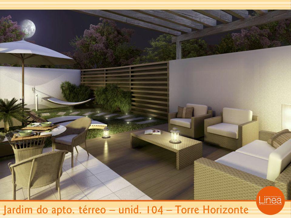 Jardim do apto. térreo – unid. 104 – Torre Horizonte