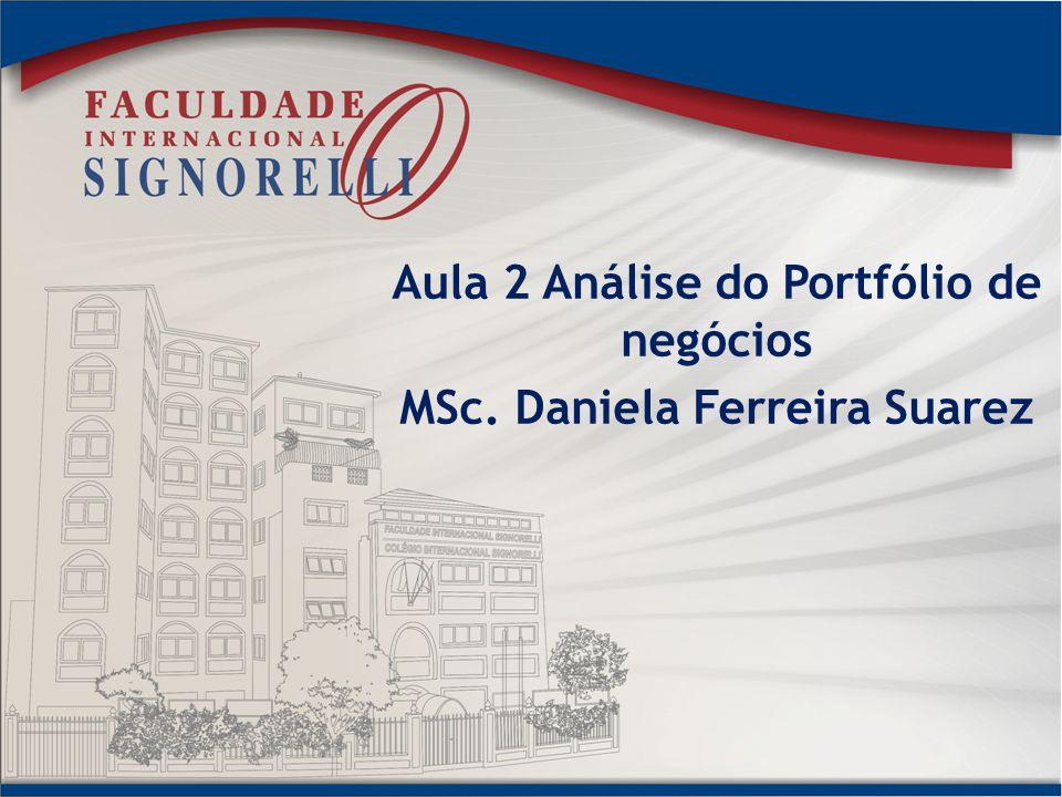 Aula 2 Análise do Portfólio de negócios MSc. Daniela Ferreira Suarez