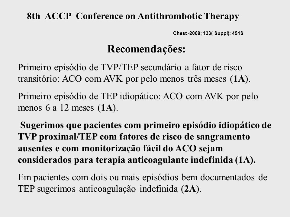 8th ACCP Conference on Antithrombotic Therapy