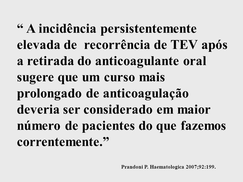 A incidência persistentemente elevada de recorrência de TEV após a retirada do anticoagulante oral sugere que um curso mais prolongado de anticoagulação deveria ser considerado em maior número de pacientes do que fazemos correntemente.
