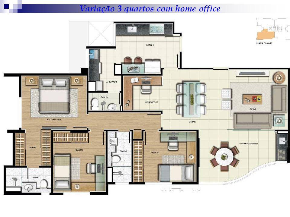 Variação 3 quartos com home office