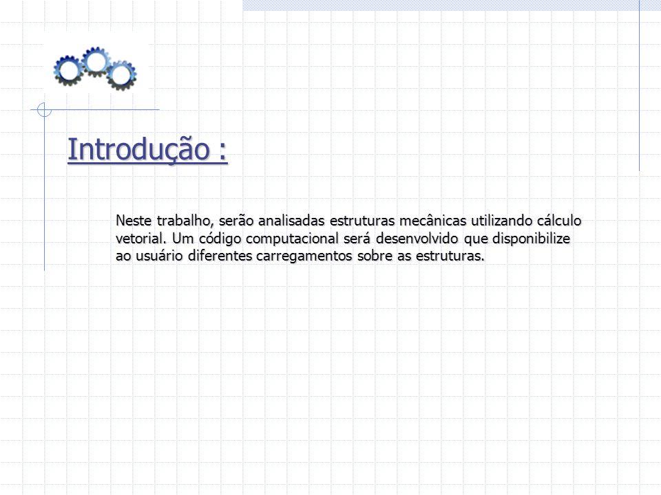 Introdução : Neste trabalho, serão analisadas estruturas mecânicas utilizando cálculo.