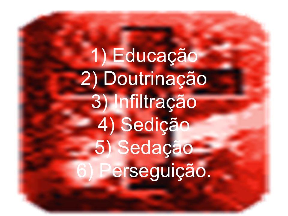 1) Educação 2) Doutrinação 3) Infiltração 4) Sedição 5) Sedação 6) Perseguição.