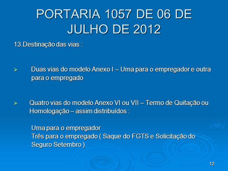 PORTARIA 1057 DE 06 DE JULHO DE 2012 13.Destinação das vias :
