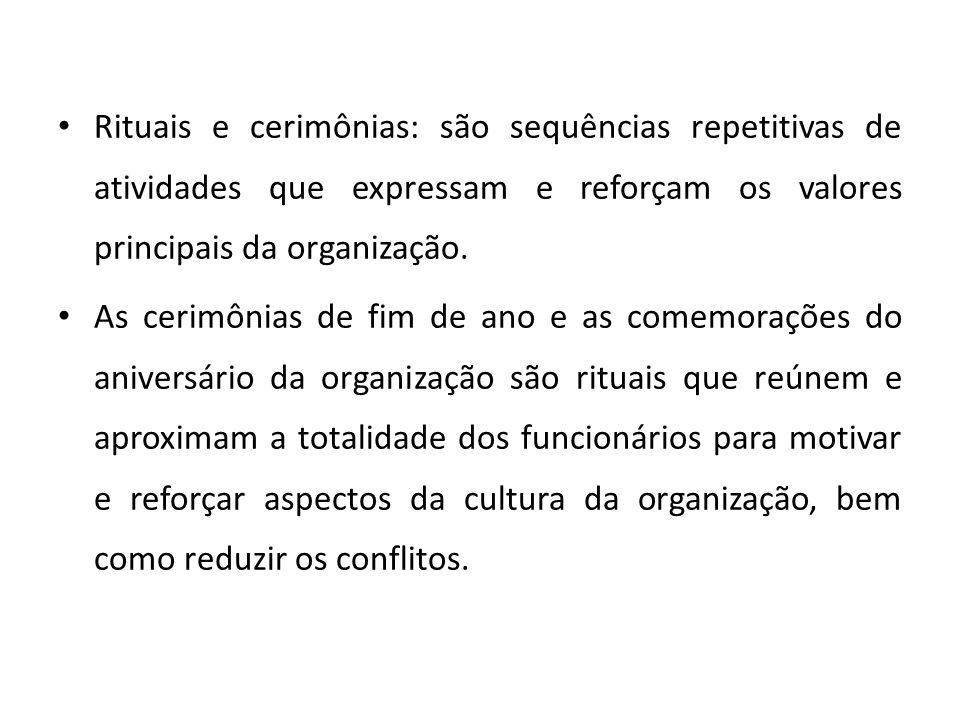 Rituais e cerimônias: são sequências repetitivas de atividades que expressam e reforçam os valores principais da organização.