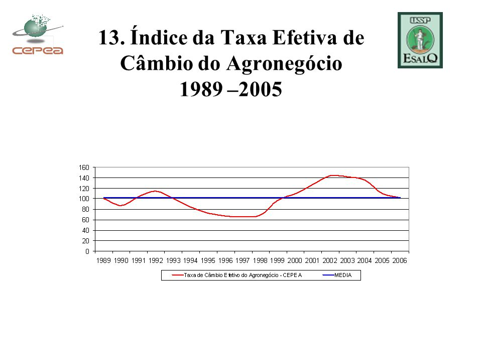 13. Índice da Taxa Efetiva de Câmbio do Agronegócio 1989 –2005