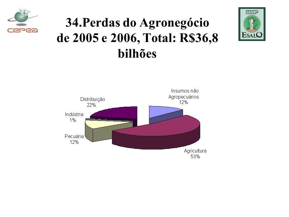 34.Perdas do Agronegócio de 2005 e 2006, Total: R$36,8 bilhões
