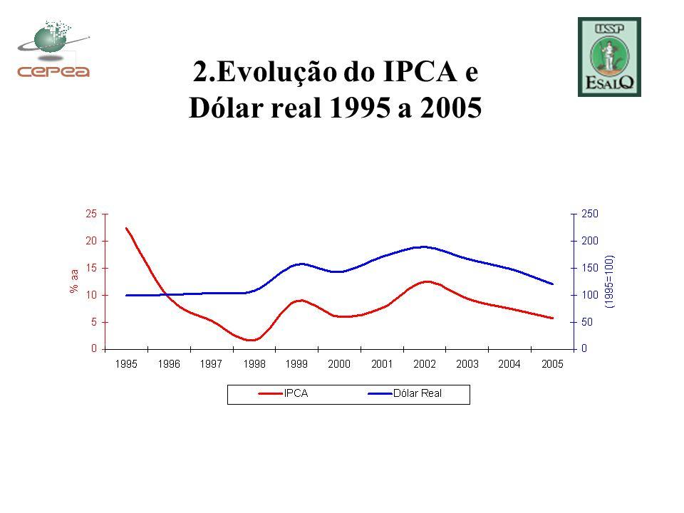 2.Evolução do IPCA e Dólar real 1995 a 2005