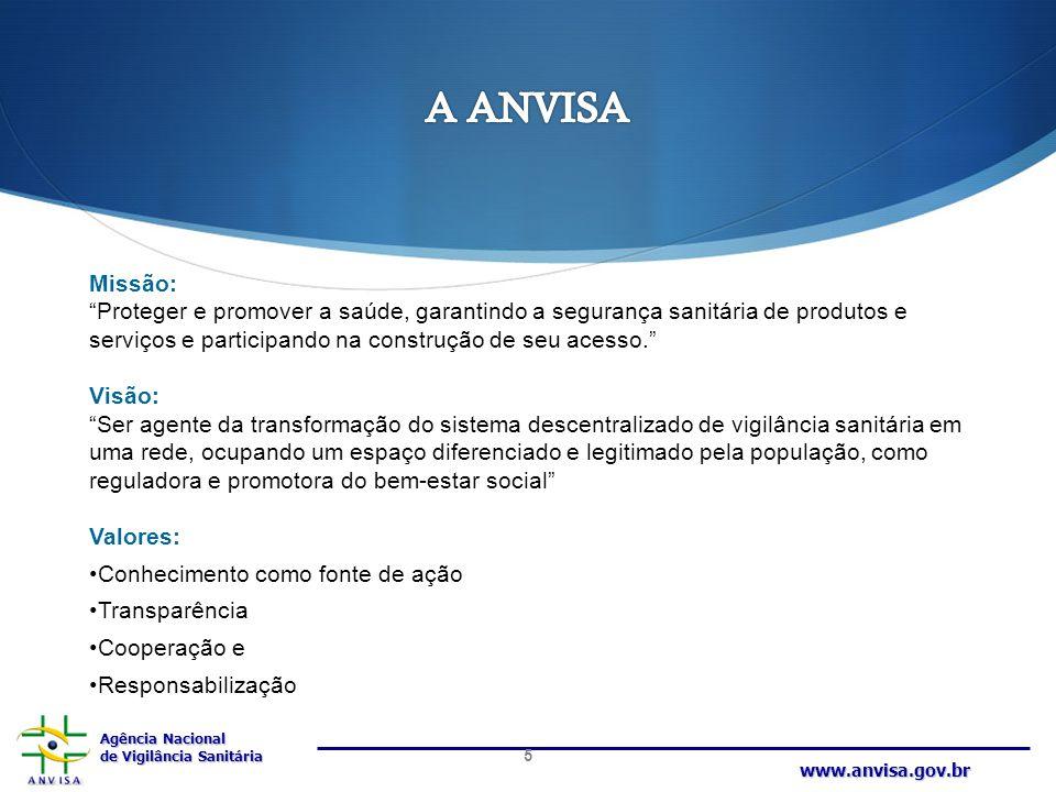 A ANVISA Missão: Proteger e promover a saúde, garantindo a segurança sanitária de produtos e serviços e participando na construção de seu acesso.