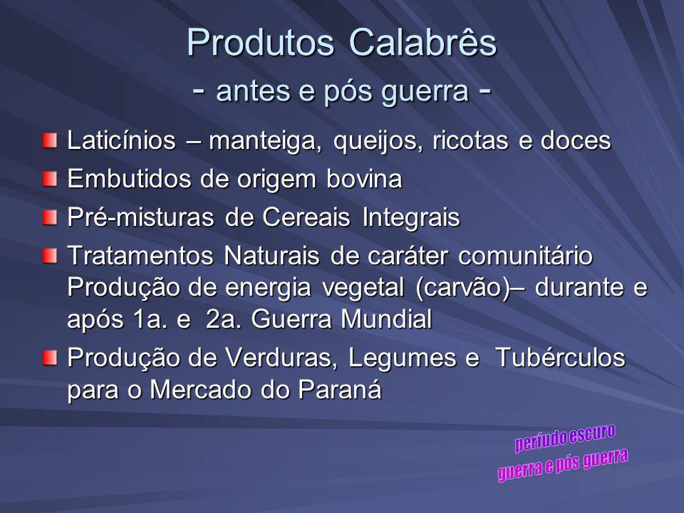 Produtos Calabrês - antes e pós guerra -