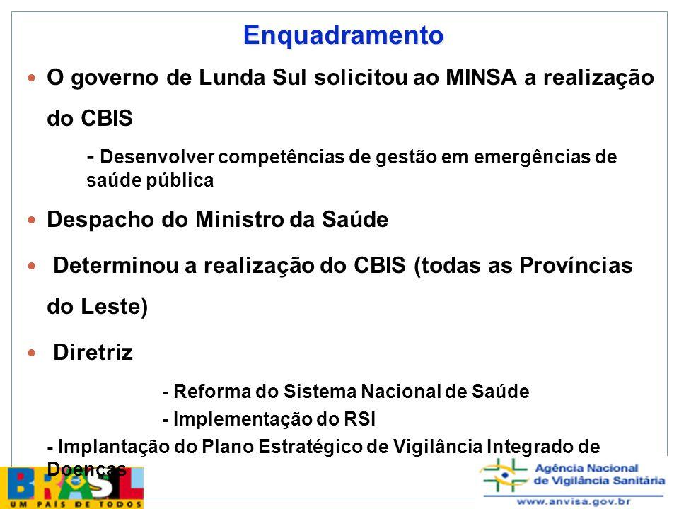 Enquadramento O governo de Lunda Sul solicitou ao MINSA a realização do CBIS. - Desenvolver competências de gestão em emergências de saúde pública.