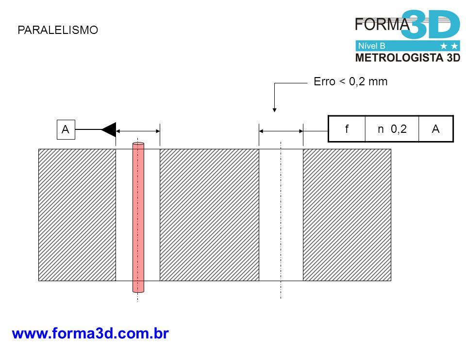 PARALELISMO Erro < 0,2 mm f n 0,2 A A