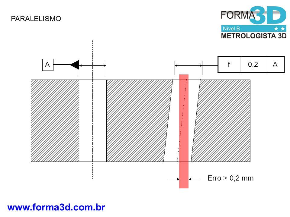 PARALELISMO f 0,2 A A Erro > 0,2 mm