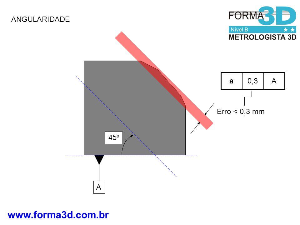 ANGULARIDADE A 0,3 a Erro < 0,3 mm 45º A