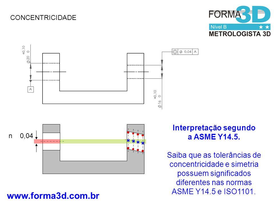Interpretação segundo a ASME Y14.5.