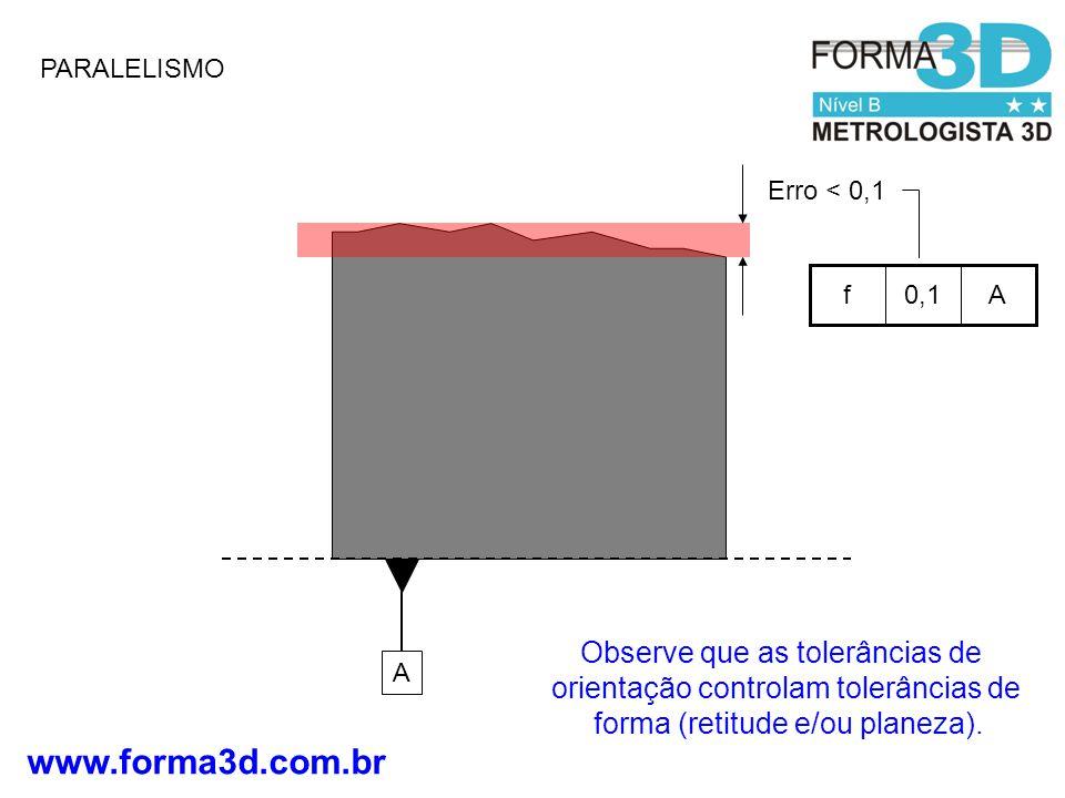 PARALELISMO Erro < 0,1. A. 0,1. f. Observe que as tolerâncias de orientação controlam tolerâncias de forma (retitude e/ou planeza).