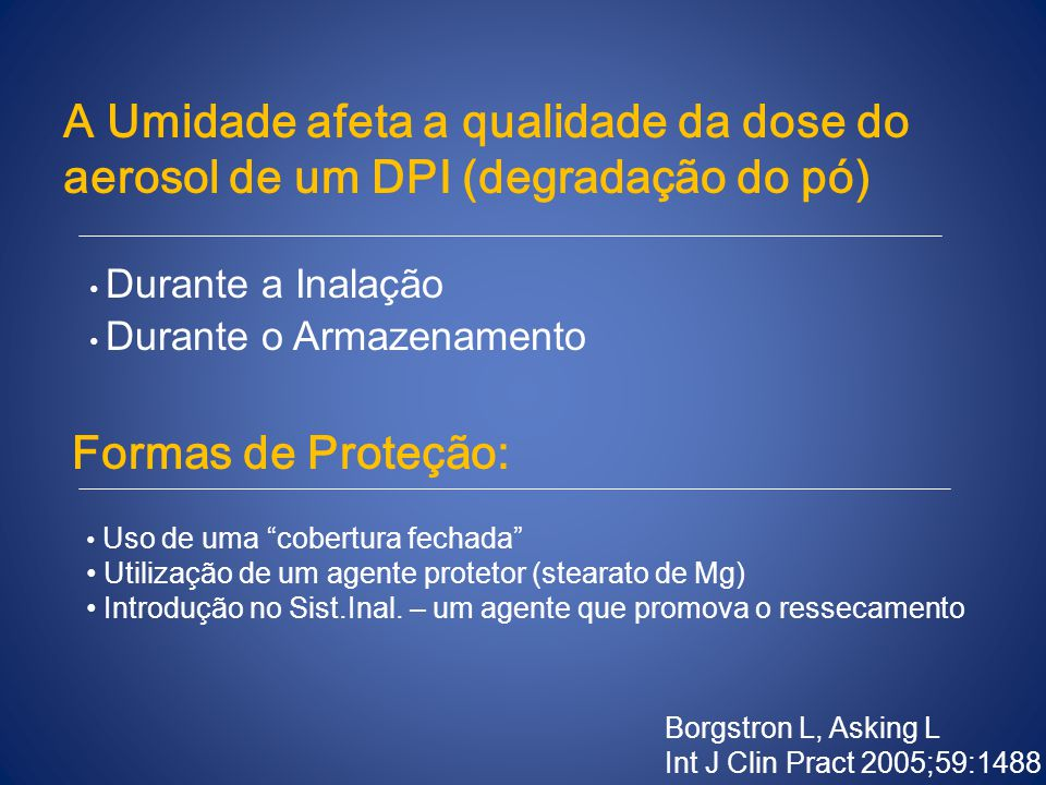 A Umidade afeta a qualidade da dose do aerosol de um DPI (degradação do pó)