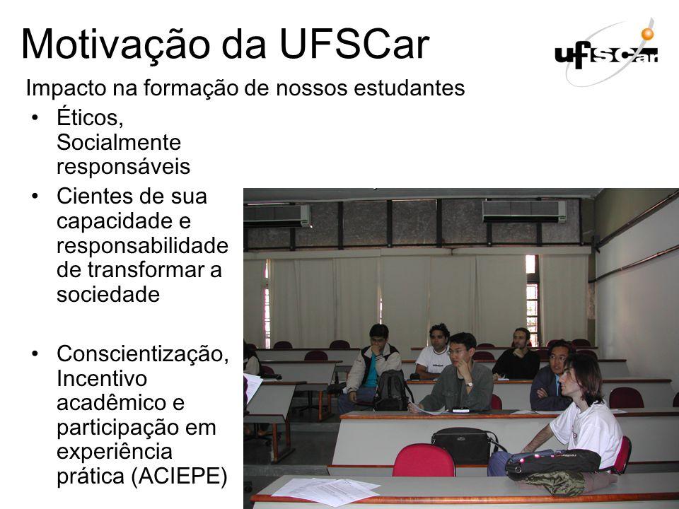 Motivação da UFSCar Impacto na formação de nossos estudantes
