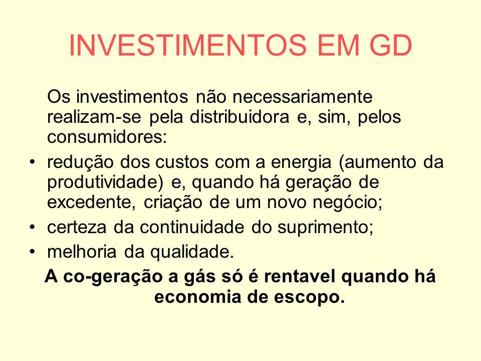 A co-geração a gás só é rentavel quando há economia de escopo.