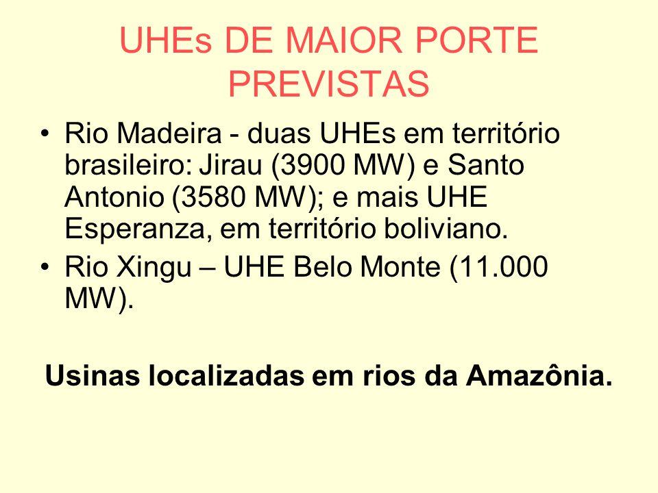 UHEs DE MAIOR PORTE PREVISTAS