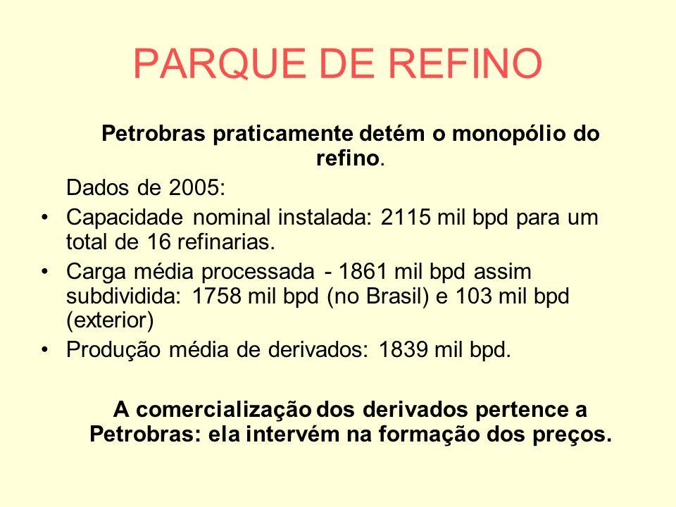 Petrobras praticamente detém o monopólio do refino.